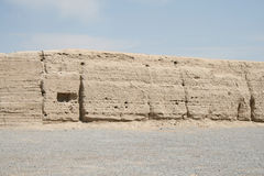 Die alte Chinesische Mauer des westlichen Endes von China, Gansu Lizenzfreies Stockfoto