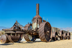 Die alte Dampflokomotive in der Wüste, Death Valley Stockfotografie