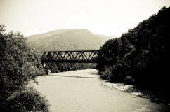 Die alte Eisenbrücke über dem Fluss stockfotos