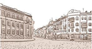 Die alte europäische Fußstraße Stockfotos