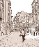 Die alte europäische Fußstraße Stockfotografie