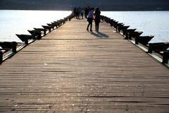 Die alte Floßbrücke auf gangiang Fluss Lizenzfreie Stockbilder