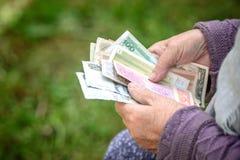 Die alte Frau betrachtet Banknoten - Hände und Geld nahes hohes stockfotografie
