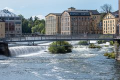 Die alte Industrielandschaft in Norrkoping, Schweden Stockbild