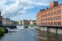 Die alte Industrielandschaft in Norrkoping, Schweden Lizenzfreies Stockbild