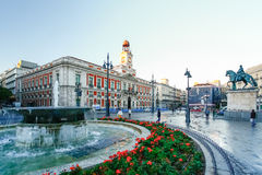 Die alte Post bei Puerta del Sol, Kilometer 0, Madrid, Spanien Lizenzfreies Stockbild