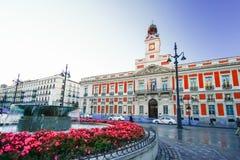 Die alte Post bei Puerta del Sol, Kilometer 0, Madrid, Spanien Lizenzfreie Stockfotografie