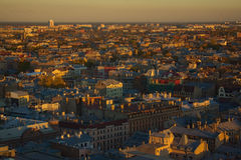 Die alte sonnige Stadtansicht Stockbilder