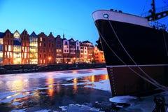 Die alte Stadt und der Hafen in Gdansk Stockbilder