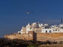Die alte Stadt von Essaouira, eine Steinfestung auf dem Strand, weiße Gebäude des alten Medinas, auf dem Ufer des atlantischen Oc Lizenzfreies Stockbild