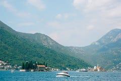 Die alte Stadt von Perast auf dem Ufer von Kotor-Bucht, Montenegro Th Lizenzfreie Stockfotos