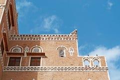 Die alte Stadt von Sana'a, verziertes Haus, Palast, der Jemen Lizenzfreies Stockfoto