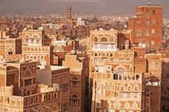 Die alte Stadt von Sana'a, von verzierten Häusern und von Palästen, der Jemen Stockbild