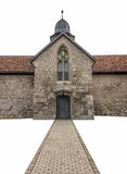 Die alte Steinkapelle auf dem weißen Hintergrund, lokalisiert Stockbild