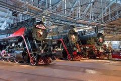 Die alten Dampflokomotiven von Zeiten der UDSSR Russland St Petersburg Museums-Eisenbahnen von Russland am 21. Dezember 2017 Lizenzfreies Stockbild