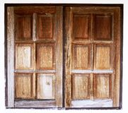 Die alten hölzernen Fenster Abbildung der roten Lilie Lizenzfreies Stockbild