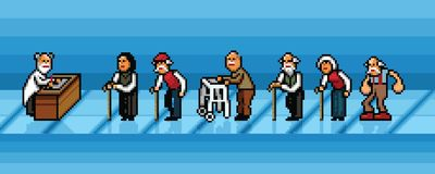 Die alten Leute, die in Linie im Krankenhauspixel-Kunstvektor warten, überlagern Illustration Stockfotografie