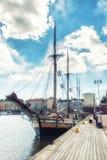 Die alten Segelschiffe im Dock, Helsinki, Finnland stockbild