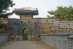 Die alten Wände von Suwon-Stadt, Südkorea Stockfotografie
