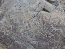 Die alten Zeichnungen auf Felsen Altai Stockfotos