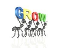 Die Ameisen-Teamformung wachsen Wort lizenzfreie abbildung