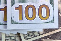 Die amerikanische Banknote des Dollars 100 Stockbild