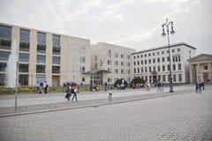 Die amerikanische Botschaft US in Berlin Stockbilder