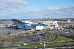 Die amerikanischer Traum-Wiesen verkaufen und die Unterhaltung im Einzelhandel, die im Bau in New-Jersey komplex ist Stockfotografie