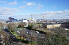 Die amerikanischer Traum-Wiesen verkaufen und die Unterhaltung im Einzelhandel, die im Bau in New-Jersey komplex ist Stockfoto