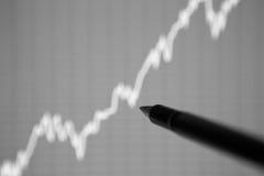 Die Analyse des Diagramms von Daten bezüglich der Anzeige lizenzfreie stockfotos