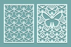 Die And Laser Cut Decorative Lace Panels Patterns With Butterflies. Set Of Bookmarks Templates. Cabinet Fretwork Panel. Laser Cut Royalty Free Stock Images