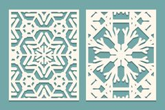 Die And Laser Cut Ornamental Panels With Snowflakes Pattern. Laser Cutting Decorative Lace Borders Patterns. Set Of Wedding Invita Stock Images