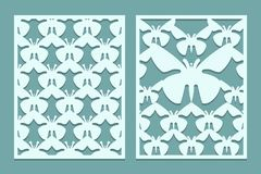 Die And Laser Cut Ornate Lace Panels Patterns With Butterflies. Set Of Bookmarks Templates. Cabinet Fretwork Panel. Laser Cut Meta Stock Image