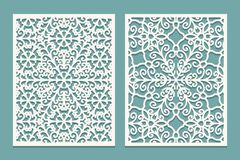 Die And Laser Cut Scenical Panels With Snowflakes Pattern. Laser Cutting Decorative Lace Borders Patterns. Set Of Wedding Invitati Stock Images