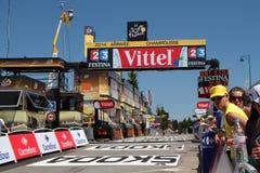 Die Ankunft von Chamrousse-Stadium des Tour de France Stockbilder