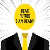 Die Anmerkung schreibend, die lieber Zukunft, bin mich zeigt, bereit ZUSTANDS-Aktionssituation des Gesch?ftsfotos Pr?sentations,  lizenzfreie abbildung