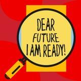 Die Anmerkung schreibend, die lieber Zukunft, bin mich zeigt, bereit ZUSTANDS-Aktionssituation des Gesch?ftsfotos Pr?sentations,  stock abbildung