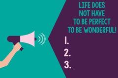 Die Anmerkung zu schreiben, die das Leben zeigt, muss nicht perfekt sein, wunderbar zu sein Geschäftsfotopräsentation gut, Rat-HU vektor abbildung