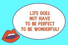 Die Anmerkung zu schreiben, die das Leben zeigt, muss nicht perfekt sein, wunderbar zu sein Geschäftsfotopräsentation gut, Rat le vektor abbildung