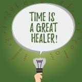 Die Anmerkung zu schreiben, die Zeit zeigt, ist ein großer Heiler Das Geschäftsfoto, das die emotionalen Schmerz zur Schau stellt stock abbildung