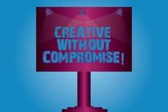 Die Anmerkungsvertretung schreiben kreativ ohne Kompromiss Geschäftsfoto, das eine Maßnahme des Goodwills und der kleinen Origina lizenzfreie abbildung
