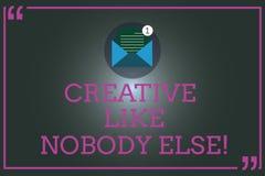 Die Anmerkungsvertretung schreiben kreativ wie niemand sonst Geschäftsfoto, das Spitzenkreativität der hohen Qualität das ursprün vektor abbildung