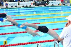 Die Anordnung an einer Schwimmenabschussrampe Stockbilder