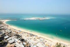 Die Ansicht über Bau des 210 Meter Dubai-Auges Stockfoto