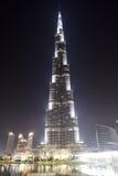 Die Ansicht über Burj Khalifa und künstlicher See Stockfotos