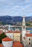 Die Ansicht über die alte Stadtmitte von Budva, Montenegro, der Typ Lizenzfreies Stockfoto