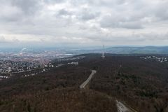Die Ansicht über Stuttgart vom Fernsehturm in Deutschland Stockfotografie