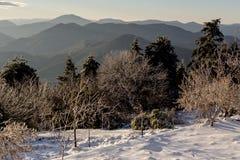 Die Ansicht der Berge im Abstand und in den Eis-bedeckten Bäumen Stockfoto