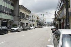 Die Ansicht des alten Chino-portugiesischen Gebäudes im alten Stadtbezirk von Phuket, Thailand Lizenzfreies Stockfoto