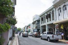 Die Ansicht des alten Chino-portugiesischen Gebäudes im alten Stadtbezirk von Phuket, Thailand Stockbilder
